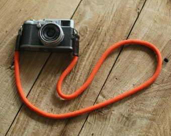 windmup COOL Pure orange Climbing rope 10mm black leather handmade Camera strap