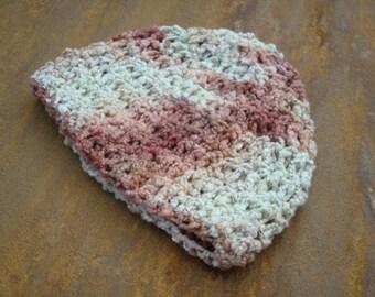 Cotton Flannel Baby Boys Beanie Hat, Hand Painted, Soft - Caramel Cream - 323