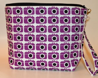 Designer Purple Cameras print project bag