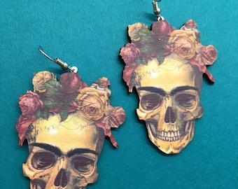 Flower Skull Wooden Earrings, Wood Floral Skull Earrings, Frida Skull Wooden Earrings, Frida Skull Earrings, Skull Earrings