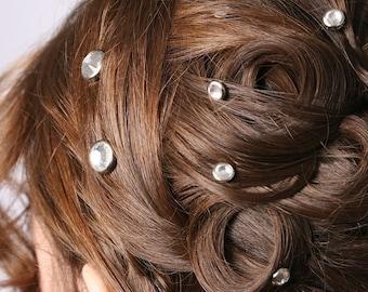 10 cristal cheveux Snaps - rond bord d'argent édition--faite avec des strass Swarovski Element