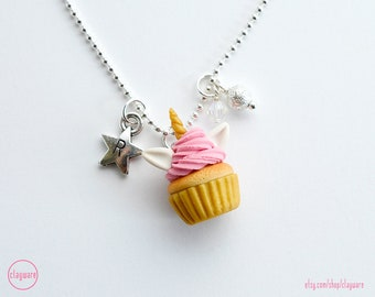 Unicorn Pink Frosted Cupcake Personalized Necklace - Kawaii Cluster Cupcake Pendant Necklace - Polymer Clay - Kawaii Food Charm Jewelry