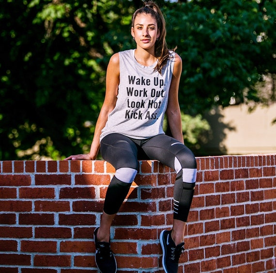 Wake Up Work Out Look Hot Kick Ass / Statement / Graphic / Tshirt / Tee / Tank / Exercise Tank / T shirt / Cross fit / Crossfit