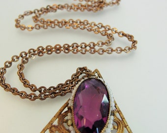 Vintage Faceted Amethyst Glass Faux Pearl Pendant Necklace