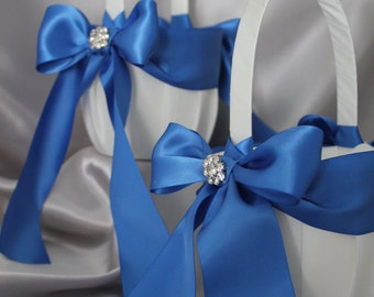 2-Flower Girl Basket in White or Ivory Royal Blue Satin Ribbons with Rhinestone Cluster Accent-Custom Ribbon Colors