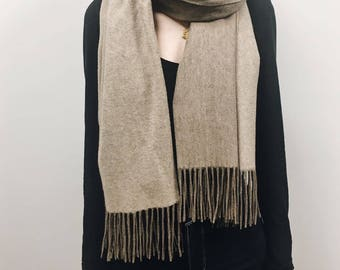 100% Cashmere Scarf, Made in China, Reversible BeigeCashmere Scarf
