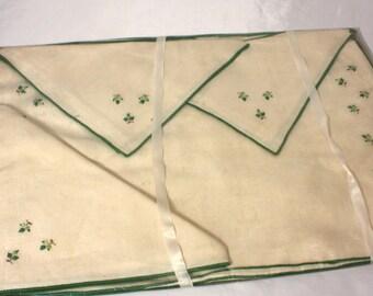 Natural Beige Embroidered Linen Napkins and Placemats Set, Vintage New in Original Plastic Bag