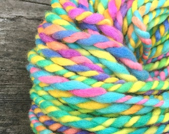 Handspun super bulky yarn, 2 ply,  in hand dyed merino  wool - 49 yards,  3 ounces/ 86 grams