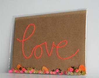 Handmade Card, Valentines Day Card, Hand Sewn Card, Embroidered Card, Handmade Valentines Day Card, Love, Blank Card, Confetti Card, Be Mine