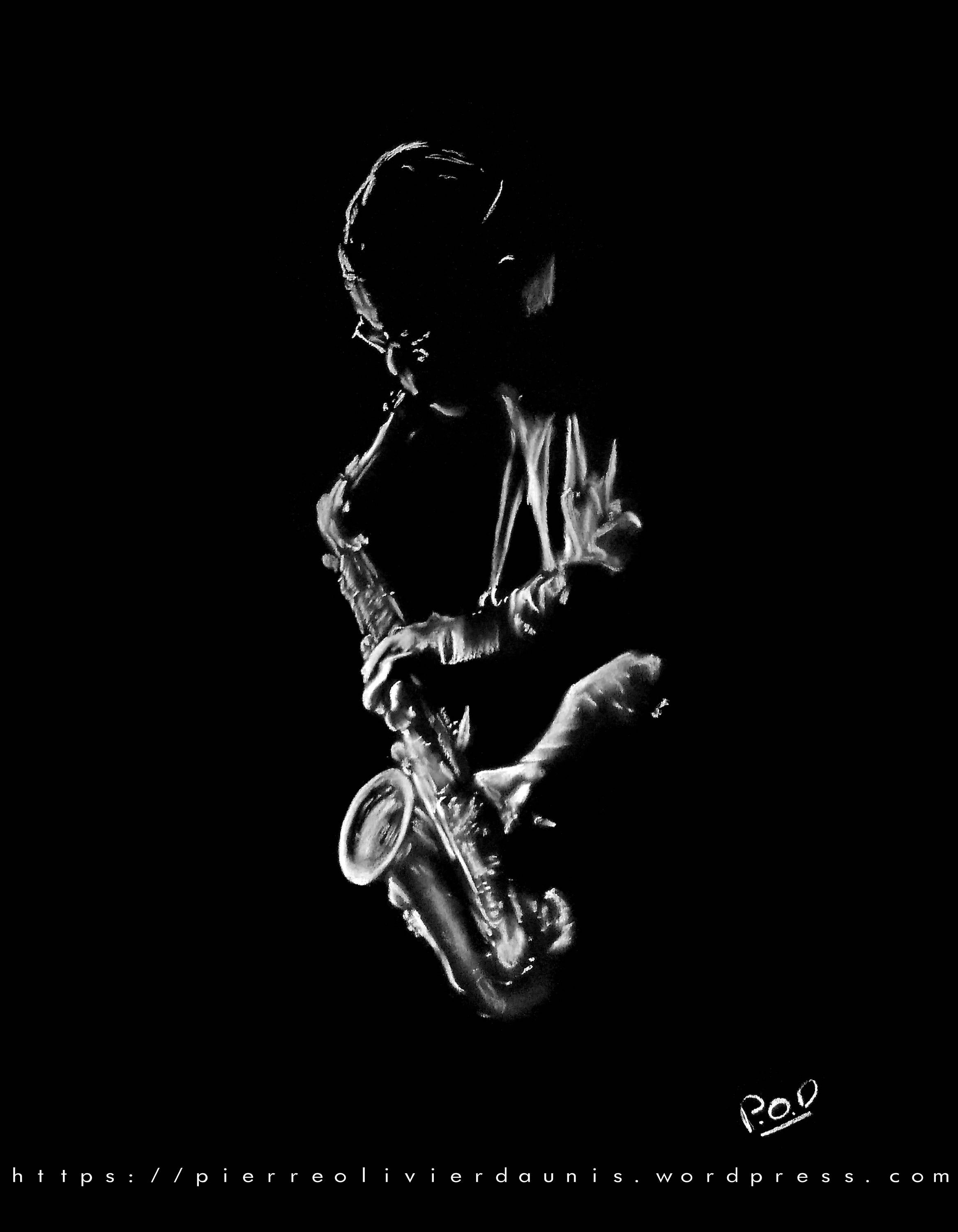 Saxophonist 2 13 Saxophonist Pastel Painting Of Music Modern
