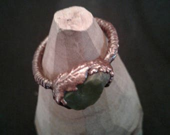Copper electroformed ring with raw peridot, size 7 1/4