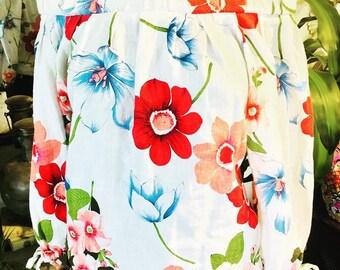 Off the shoulder White Floral Line  Blouse