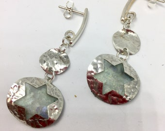 Dangle silver Jewish star earrings with Roman glass, silver butterfly closure , sterling silver statement unique ancient Roman glass earring