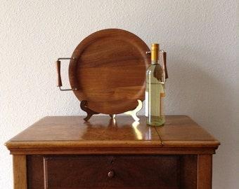 Vintage Lg Round Teak Tray, Ary Sweden,  Danish Modern Serving Tray