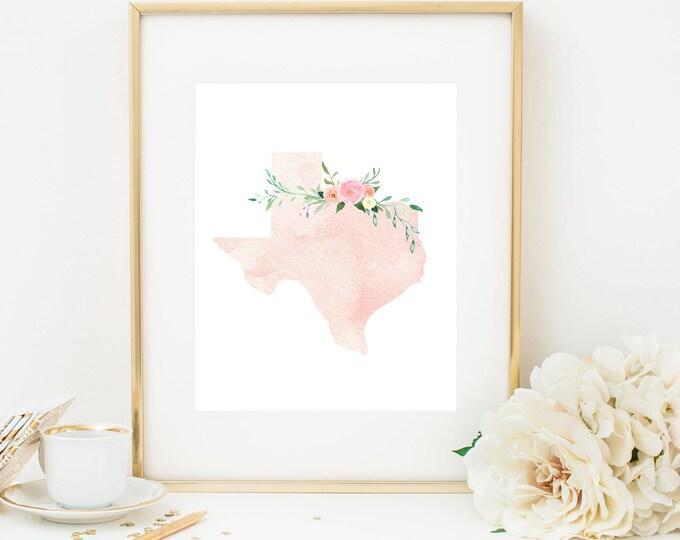 Texas Print, Pink Watercolor Map, Texas Silhouette, Texas Art Print, Printable Home Nursery Decor, Texas Wall Art, Dorm Decor