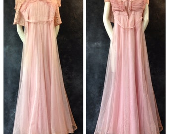 Vintage 1930's pink net gown extra small