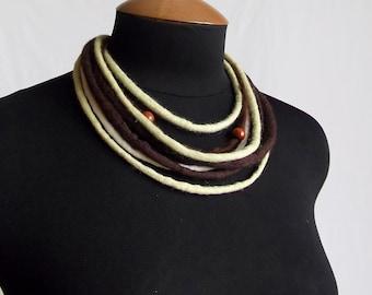 Woolen dreadlock doodle necklace pistachios and dark chocolate OOAK