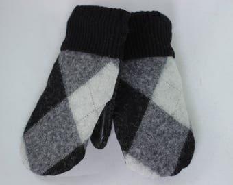 Leather Palm Mittens, Small Argyle Mittens,  Polartec Fleece Liner