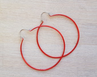 Extra large hoop earrings - Statement earrings - 0.8mm - Bright red - Boho titanium earrings - Rustic hoop earrings - Summer hoops