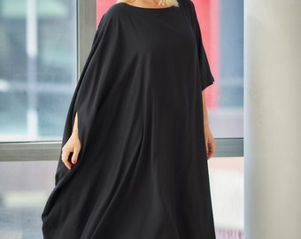 Black Dress, Maxi Dress, Black Kaftan, Kimono Dress, Maxi Tunic Dress, Plus Size Dress, Loose Women Dress, 3-4 Sleeve Dress, Spring Dress