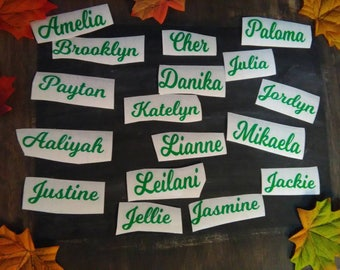 Vinyl decals,Small vinyl name decals,Holiday Envelope sealers,Cup decals,Phone Decor,Wedding cup name, mailbox numbers,car decals,weird name
