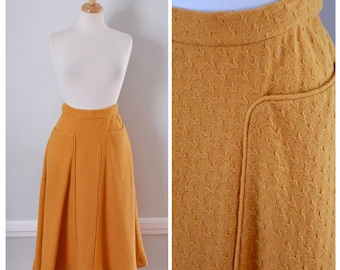40s Skirt / Vintage Skirt / 1940s Skirt / Vintage 40s Skirt / 50s Skirt / Wool Skirt / Midi Skirt / Orange / 40s Wool Skirt / Small / Medium