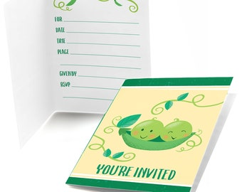 Double the Fun - Twins Two Peas In A Pod - Fill In Invitations - Twins Party Invites - Two Peas in a Pod - Set of 8 Cards w/Envelopes