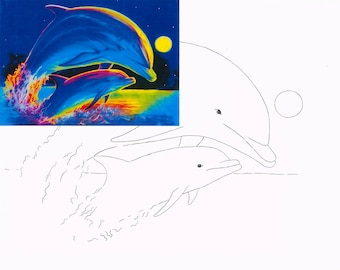 Dolphins, Watercolor painting kit