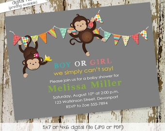he or she gender reveal invitation | shower with love | surprise gender reveal | diaper wipe brunch | safari monkey | 1423 katiedid designs