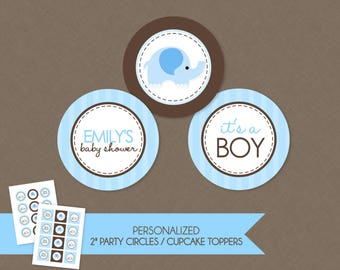 Sweet Elephant Baby Shower 2'' Cupcake Toppers / Party Circles - Blue & Brown