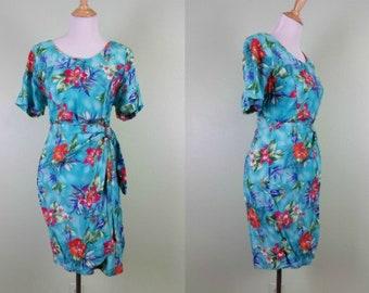 1990s Hawaiian Sarong Dress - Tropical Cruise Dress - Medium
