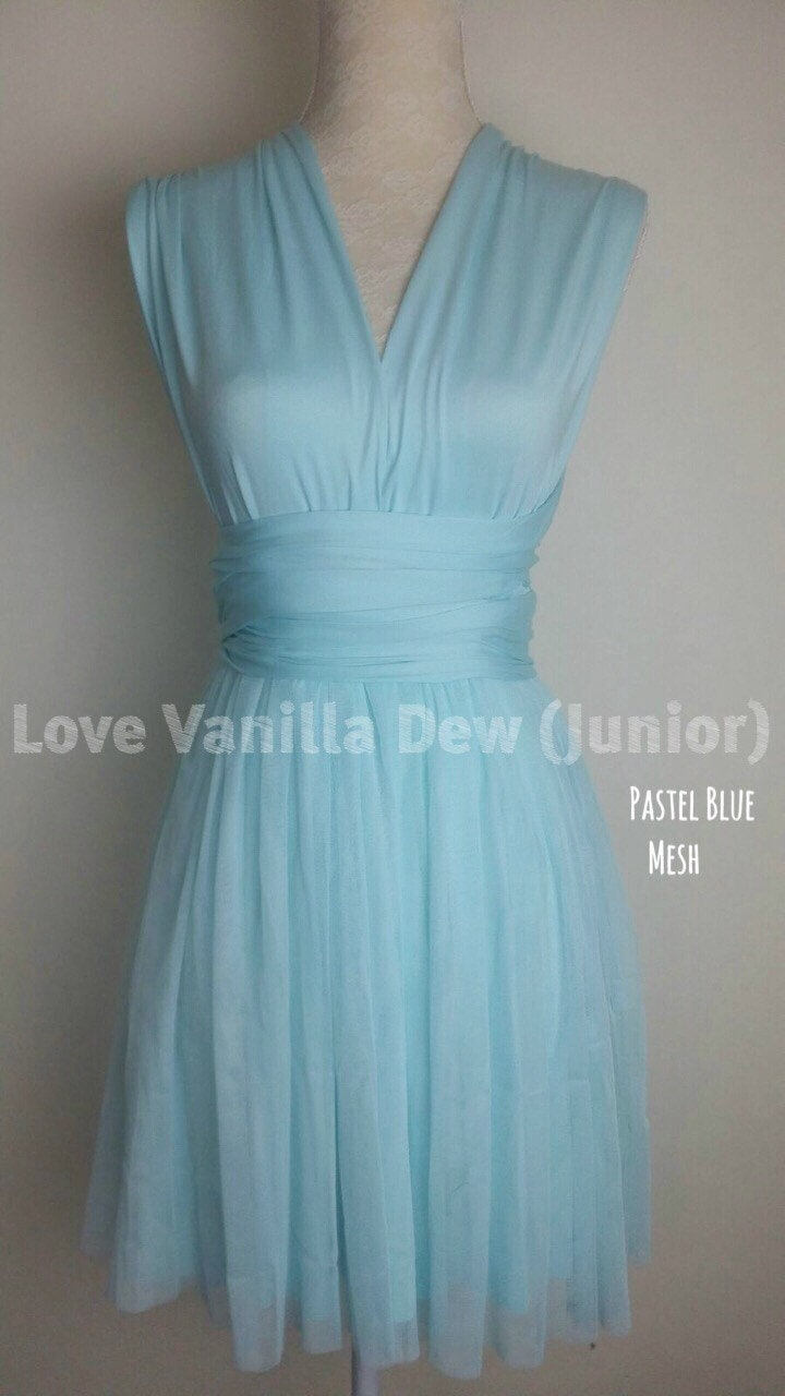 Junior Bridesmaid Dress Infinity Dress Pastel Blue Mesh