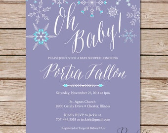 Winter baby shower invitations / baby shower invites / Shower invitations / Printable file or Printed cards