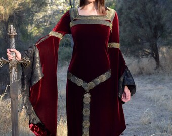 "Burgundy Fantasy Medieval velvet dress, Costume, ""Trea"""