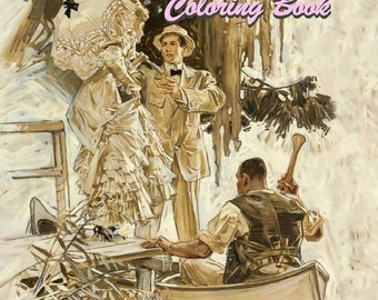 PDF of Victorian Couples Grayscale Adult Coloring Book 30 pages Instant Download