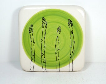 tile in green with asparagus print. ready to ship