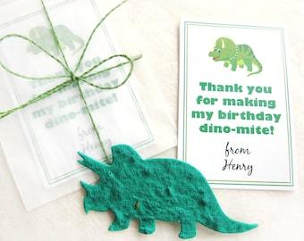 12 Plantable Dinosaur Birthday Party Favors - Flower Seed Paper Dinosaur Kid Party Favors - Dinomite Birthday Party Favors