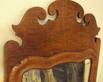 Antique Queen Anne Tiger Maple Mirror