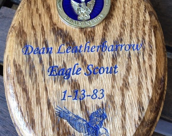 Scout Eagle Oak Plaque #6