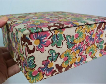 Early Vintage Sewing Box Floral Fabric covered Box storage box Boudoir Box// 1930s 1940s