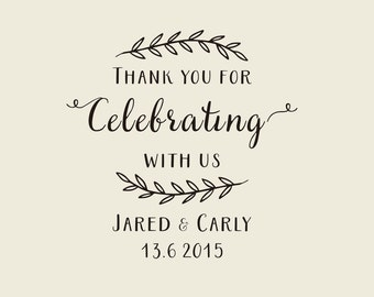 Rustic stamp-Custom Wedding Calligrapy Stamp - Thank You For Celebrating With Us personalized wedding stamp for DIY wedding favors
