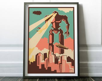 Retro Wall Art, Robot Print, Retro Print, Fine Art Print, Retro Robot Print, Retro Art, Wall Art Print, Robot Poster, Retro Poster, Retro