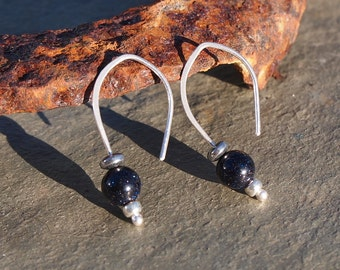 Silver drop earrings, blue goldstone drops with hematite beads, handmade Argentium silver earrings by ARC Jewellery UK