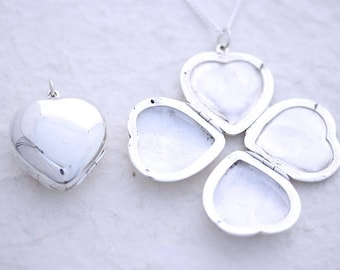 Sterling silver 4 picture locket Necklace, Sterling silver Four photo locket necklace, 4 photo locket. Four picture Heart locket