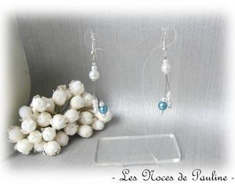 Earrings turquoise and white asymmetrical Julia