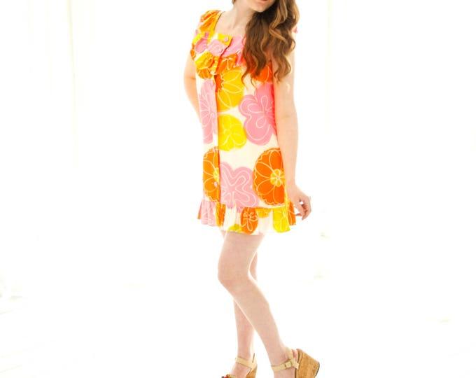 Vintage citrus mini dress, yellow orange pink floral tropical Hawaiian sleeveless summer ruffle 1960s S petite SALE