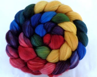 115g (14.57 Euro/100g) 4oz superwash merino roving, wool roving, hand dyed roving, spinning fiber, roving wool, yellow, red,blue, 100% wool