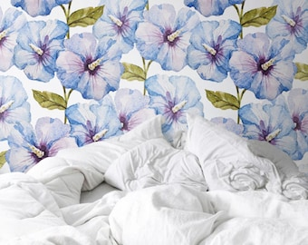 Watercolour Hibiscus Wallpaper, Removable Wallpaper, Self-adhesive Wallpaper, Floral Wall Décor, Tropical Wallcovering - JW012