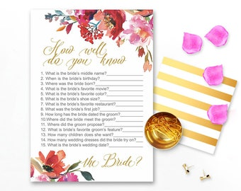 How well do you know the Bride game, Who knows the bride best, Bridal Shower Activity, Red Bridal Shower Game Printable, Watercolor Bridal