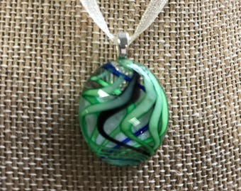 Fused Glass Necklace - Green Swirls with black and blue accent